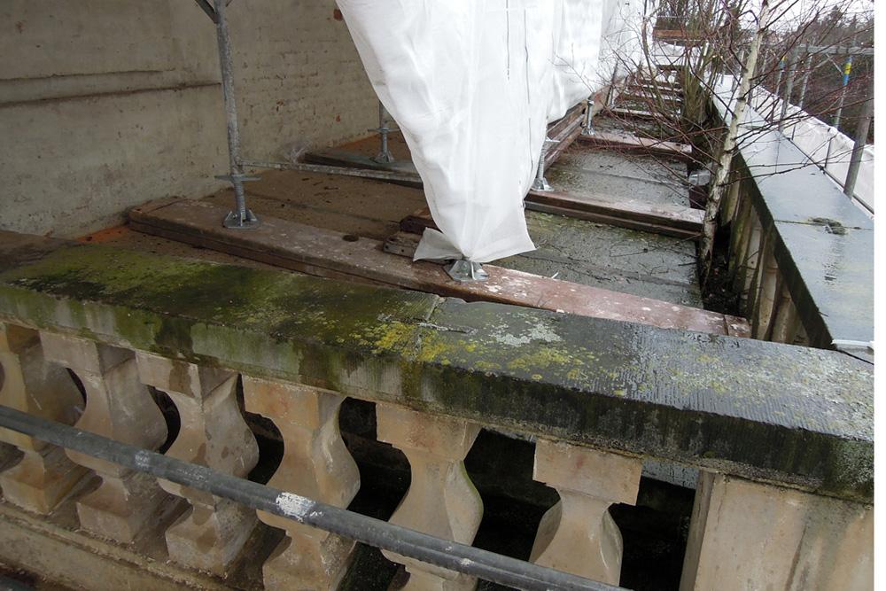 Flachdach und Balustrade im Vorzustand. Auffaellig ist der stark schaedigende Baumbewuchs.